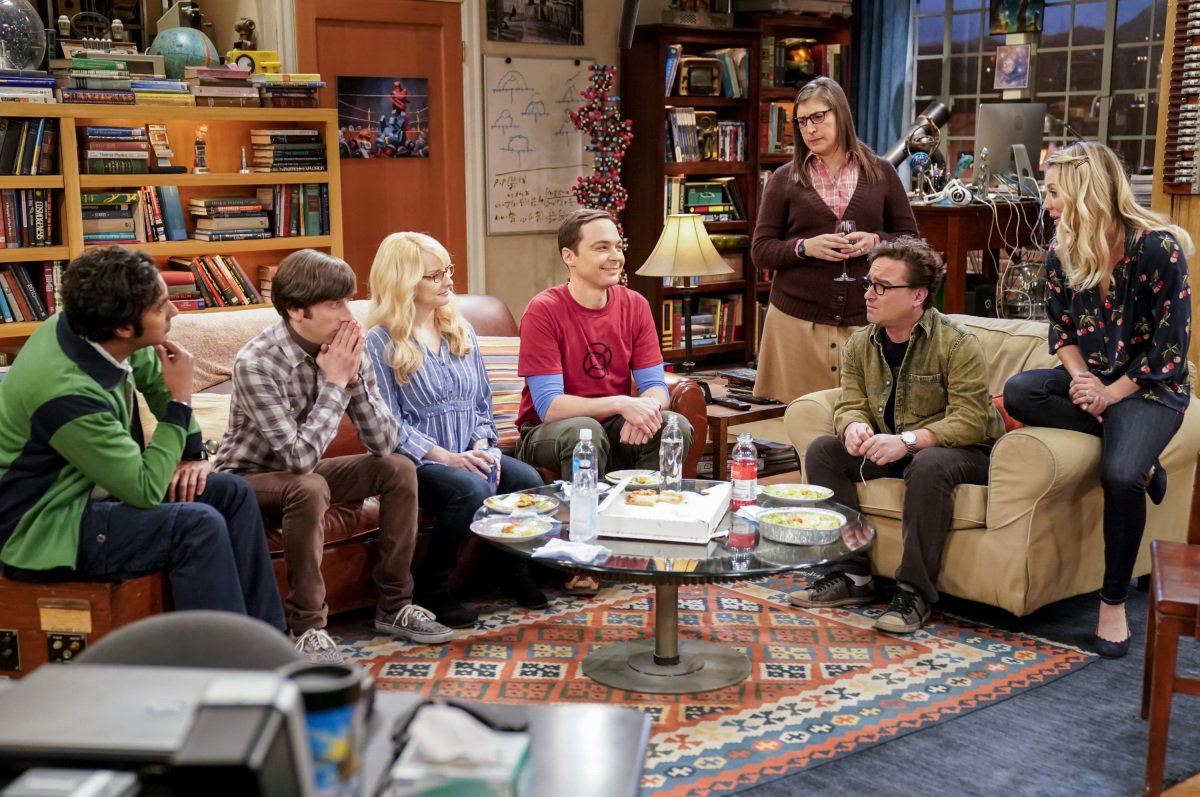 """The Gates Excitation"" - Pictured: Rajesh Koothrappali (Kunal Nayyar), Howard Wolowitz (Simon Helberg), Bernadette (Melissa Rauch), Sheldon Cooper (Jim Parsons), Amy Farrah Fowler (Mayim Bialik), Leonard Hofstadter (Johnny Galecki) and Penny (Kaley Cuoco). Penny gets the opportunity to host Bill Gates at work when his company wants to partner with her pharmaceutical company. Also, Leonard, Koothrappali, and Wolowitz do everything in their power to meet him, while Sheldon thinks he is the victim of an April Fools prank, on THE BIG BANG THEORY, Thursday, March 29 (8:00-8:31 PM, ET/PT), on the CBS Television Network. Photo: Erik Voake/CBS ????2018 CBS Broadcasting, Inc. All Rights Reserved."