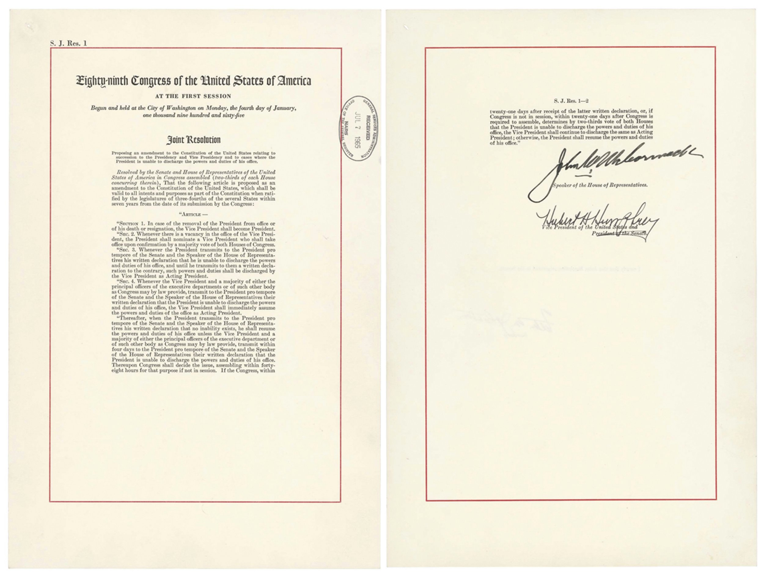 """This image shows a copy of the 25th Amendment, which allows the vice president to take over if the commander in chief is """"unable to discharge the powers and duties of his office."""" A senior administration official referenced the amendment on Wednesday, Sept. 5, 2018, in an unsigned opinion piece published in The New York Times which described President Donald Trump's """"amorality"""" and """"impetuous"""" leadership style. (National Archives via AP)"""