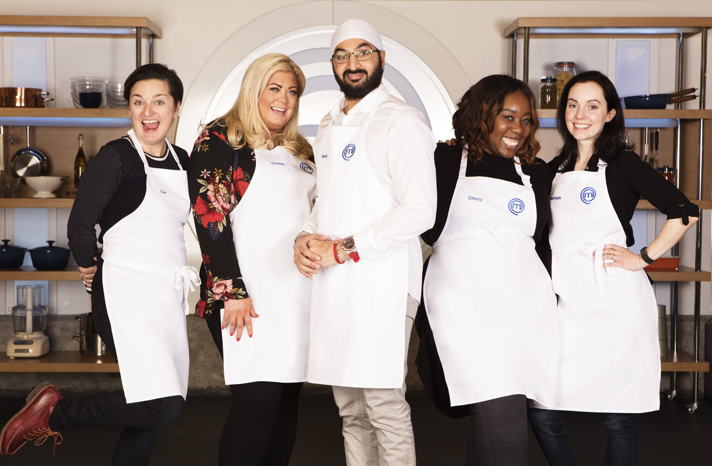 WARNING: Embargoed for publication until 00:00:01 on 14/08/2018 - Programme Name: Celebrity Masterchef S13 - TX: n/a - Episode: n/a (No. Heat 5 Generic) - Picture Shows: **STRICTLY EMBARGOED UNTIL 00:01 HRS ON TUESDAY 14TH AUGUST 2018** Zoe Lyons, Gemma Collins, Monty Panesar, Chizzy Akudolu, Stef Reid - (C) Shine TV Ltd - Photographer: Production