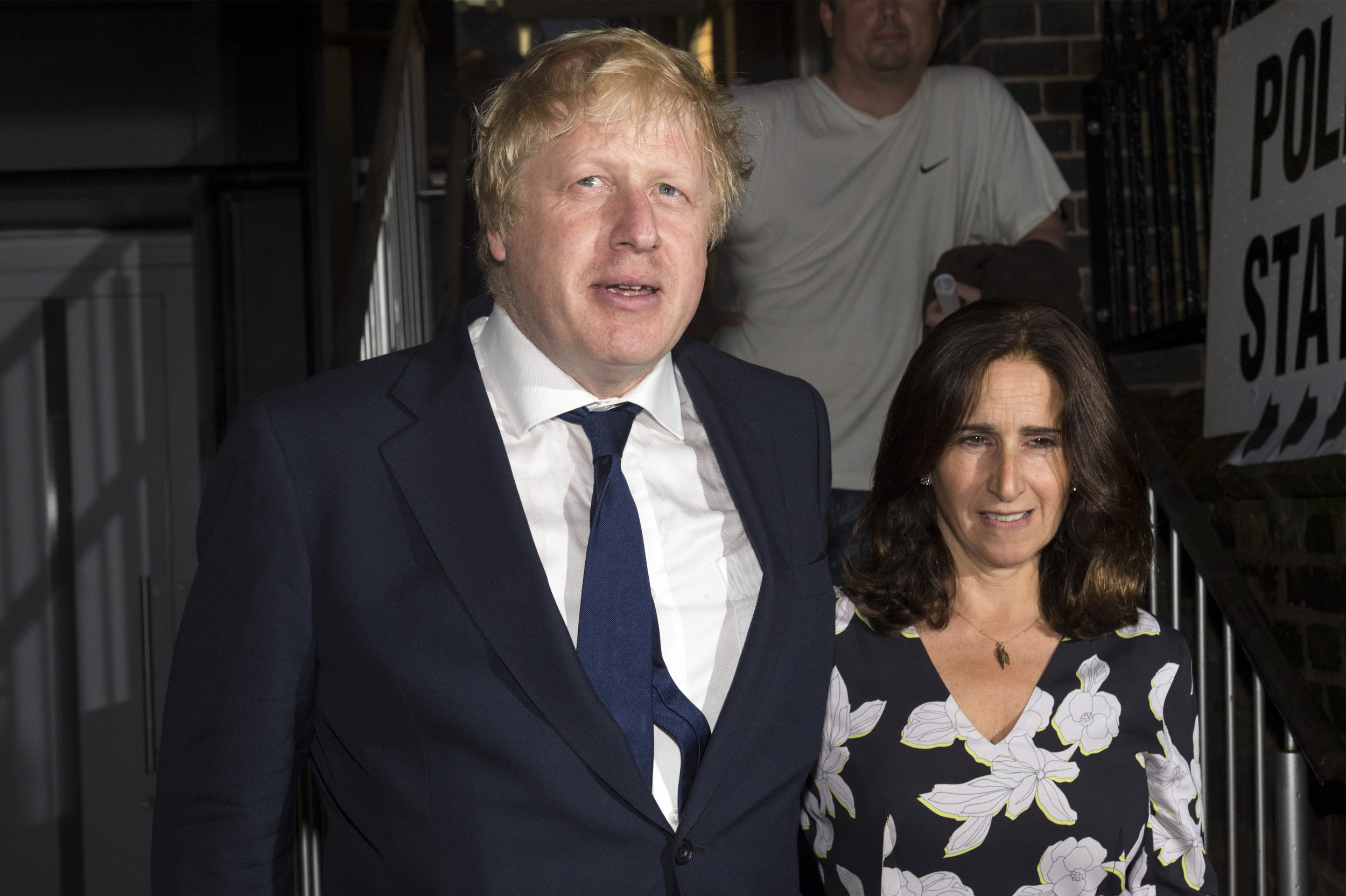 LONDON, UNITED KINGDOM - June 23: Boris Johnson (L) and wife Marina Wheeler (R) leave after casting their votes at a polling station on the EU Referendum in London, United Kingdom on June 23, 2016 (Photo by Ray Tang/Anadolu Agency/Getty Images)