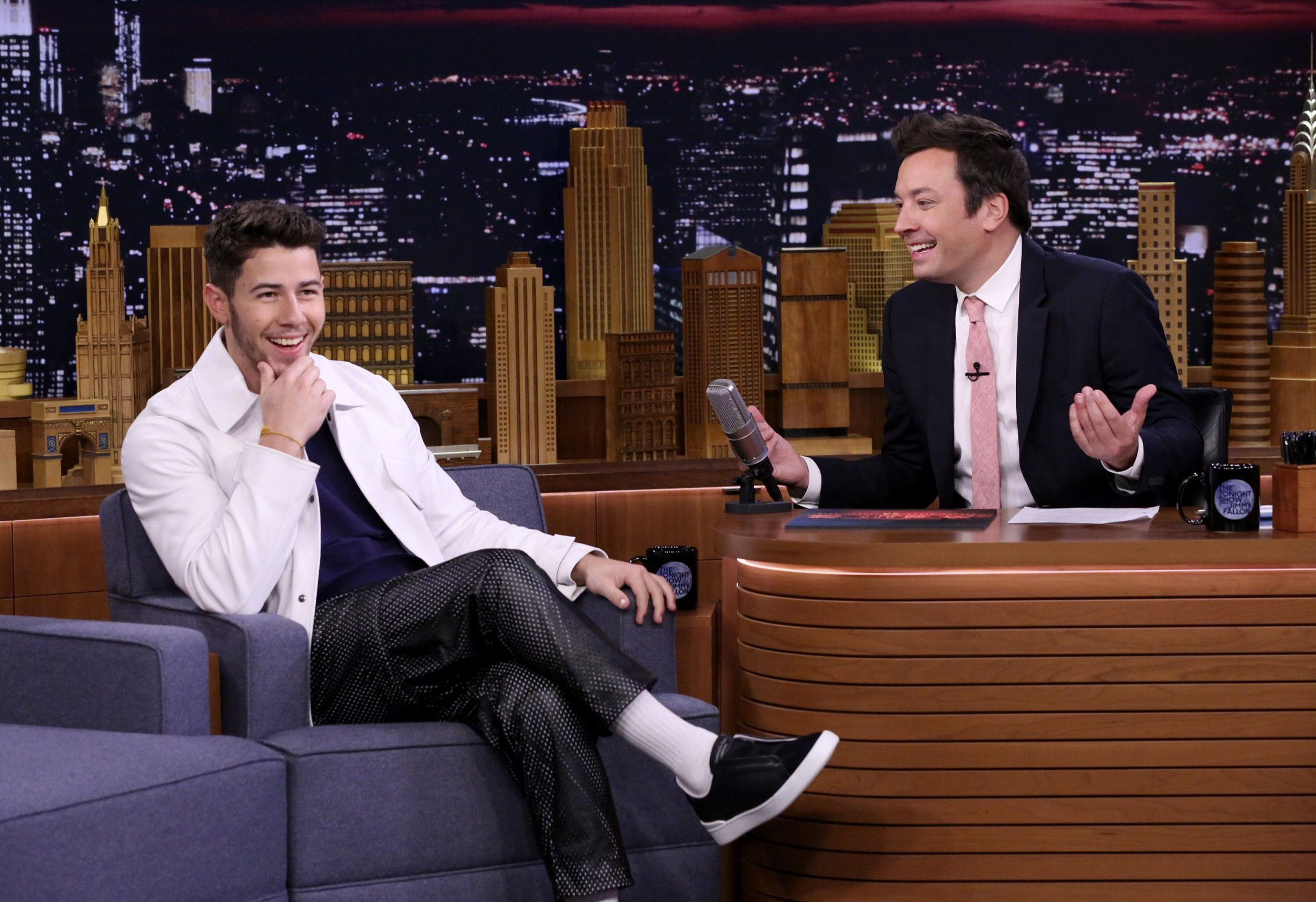 THE TONIGHT SHOW STARRING JIMMY FALLON -- Episode 0920 -- Pictured: (l-r) Singer Nick Jonas during an interview with host Jimmy Fallon on September 7, 2018 -- (Photo by: Andrew Lipovsky/NBC/NBCU Photo Bank via Getty Images)