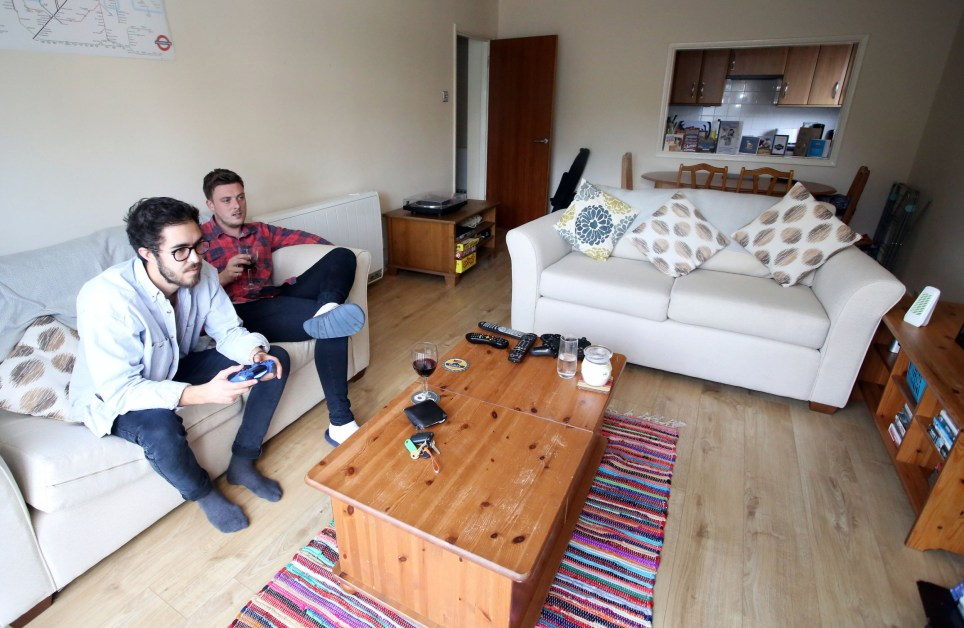 LONDON, UNITED KINGDOM, SEPTEMBER 7TH 2018. WHAT I RENT: WIMBLEDON Tenant Jack Strong (left) pictured with his flatmate Harry Richardson (right) at their rented flat in Wimbledon, London, United Kingdom, 7th September 2018. Jack and Harry pay ?700 a month in rent. Photo credit: Susannah Ireland
