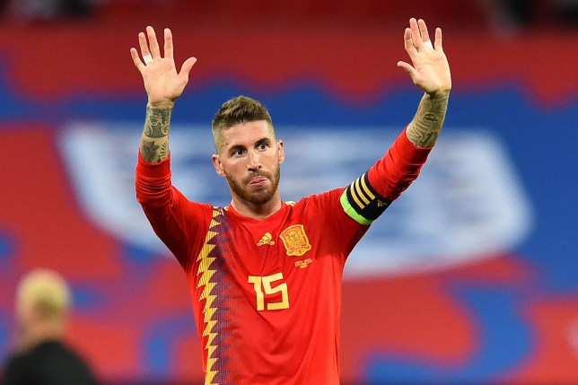 Spain's defender Sergio Ramos reacts on the pitch to their victory after the UEFA Nations League football match between England and Spain at Wembley Stadium in London on September 8, 2018. - Spain won the game 2-1. (Photo by Glyn KIRK / AFP) / NOT FOR MARKETING OR ADVERTISING USE / RESTRICTED TO EDITORIAL USEGLYN KIRK/AFP/Getty Images