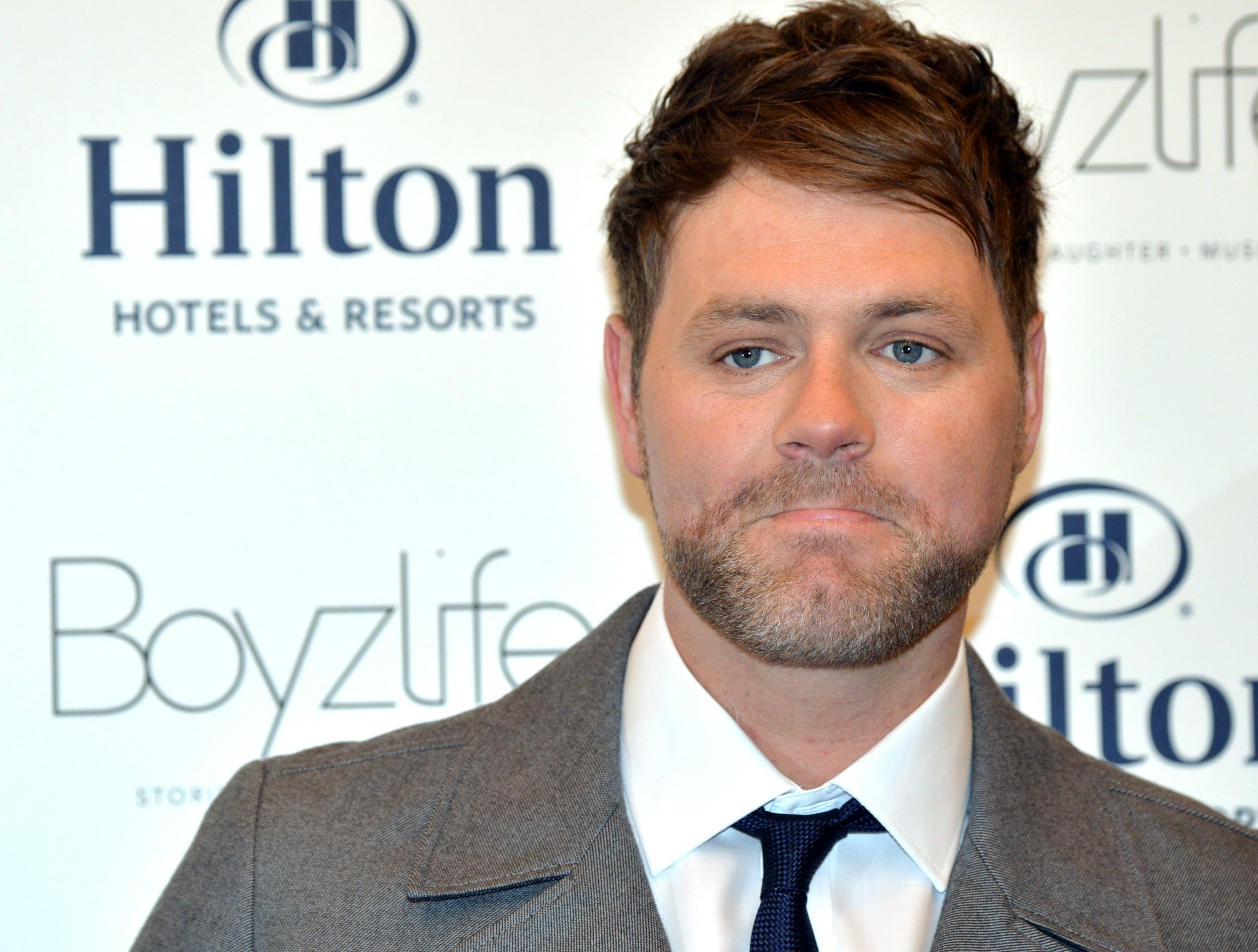 LONDON, ENGLAND - MARCH 08: Brian McFadden and Keith Duffy (not in picture) from Westlife and Boyzone, have joined forces to create Boyzlife at Hilton London Bankside on March 8, 2016 in London, England. (Photo by Anthony Harvey/Getty Images)