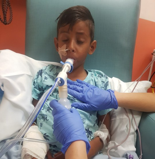 ***Embargoed until 2pm on 09/09/2018***Online usage fee ?150 per photo. Print fee ?300 per photo.*** A BRITISH boy is fighting for life after food poisoning while on holiday in Egypt led to a series of devastating illnesses. Luay Mohammed, seven, has spent more than three weeks in intensive care with complications including sepsis and a stroke after contracting salmonella. COLLECT up to date pics of Luay in intensive care