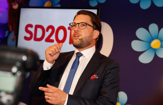 STOCKHOLM, SWEDEN - SEPTEMBER 09: Leader of the far-right Sweden Democrats Jimmy Akesson speaks to members and supporters of the far-right Sweden Democrats at the party election center on September 9, 2018 in Stockholm, Sweden. Swedes have headed to the polls in a tightly contested general election where immigration has been a central issue of a heated campaign and which could see the far-right Sweden Democrats make significant gains. (Photo by Michael Campanella/Getty Images)