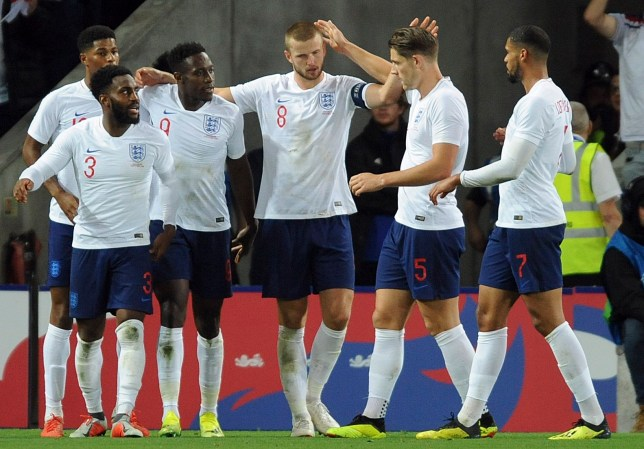 England's teammates celebrate after scoring their side's first goal during the International friendly soccer match between England and Switzerland at the King Power Stadium in Leicester, England, Tuesday, Sept. 11, 2018 . (AP Photo/ Rui Vieira)