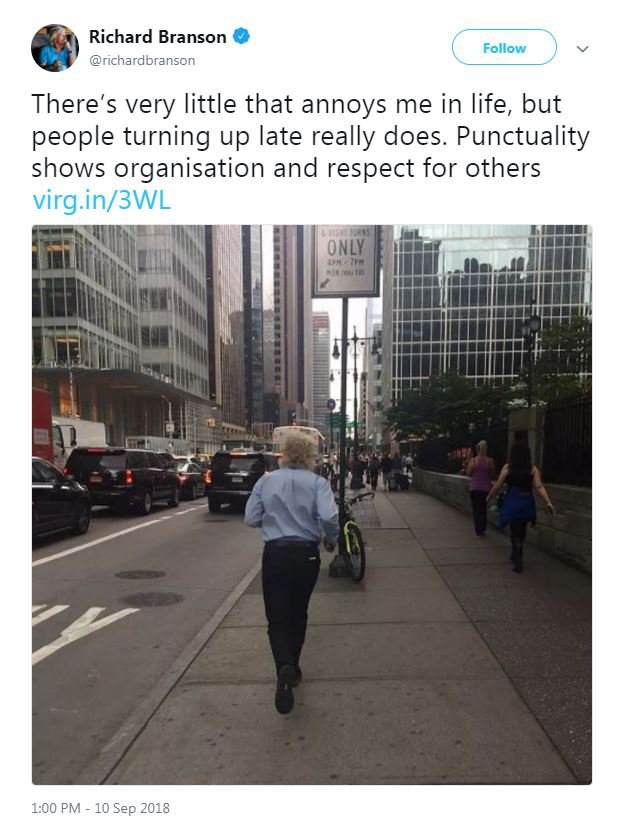 Richard Branson hates late people - Virgin train customers slate him: Provider: Twitter/richardbranson