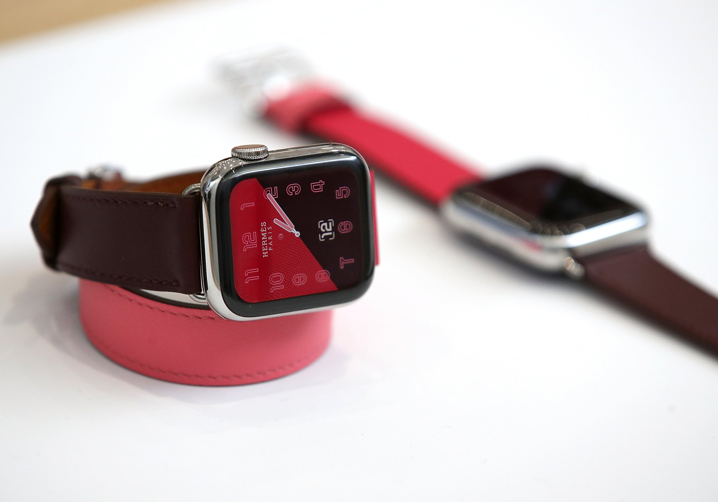 CUPERTINO, CA - SEPTEMBER 12: The new Apple Watch Series 4 is displayed during an Apple special event at the Steve Jobs Theatre on September 12, 2018 in Cupertino, California. Apple released three new versions of the iPhone and an updated Apple Watch. (Photo by Justin Sullivan/Getty Images)