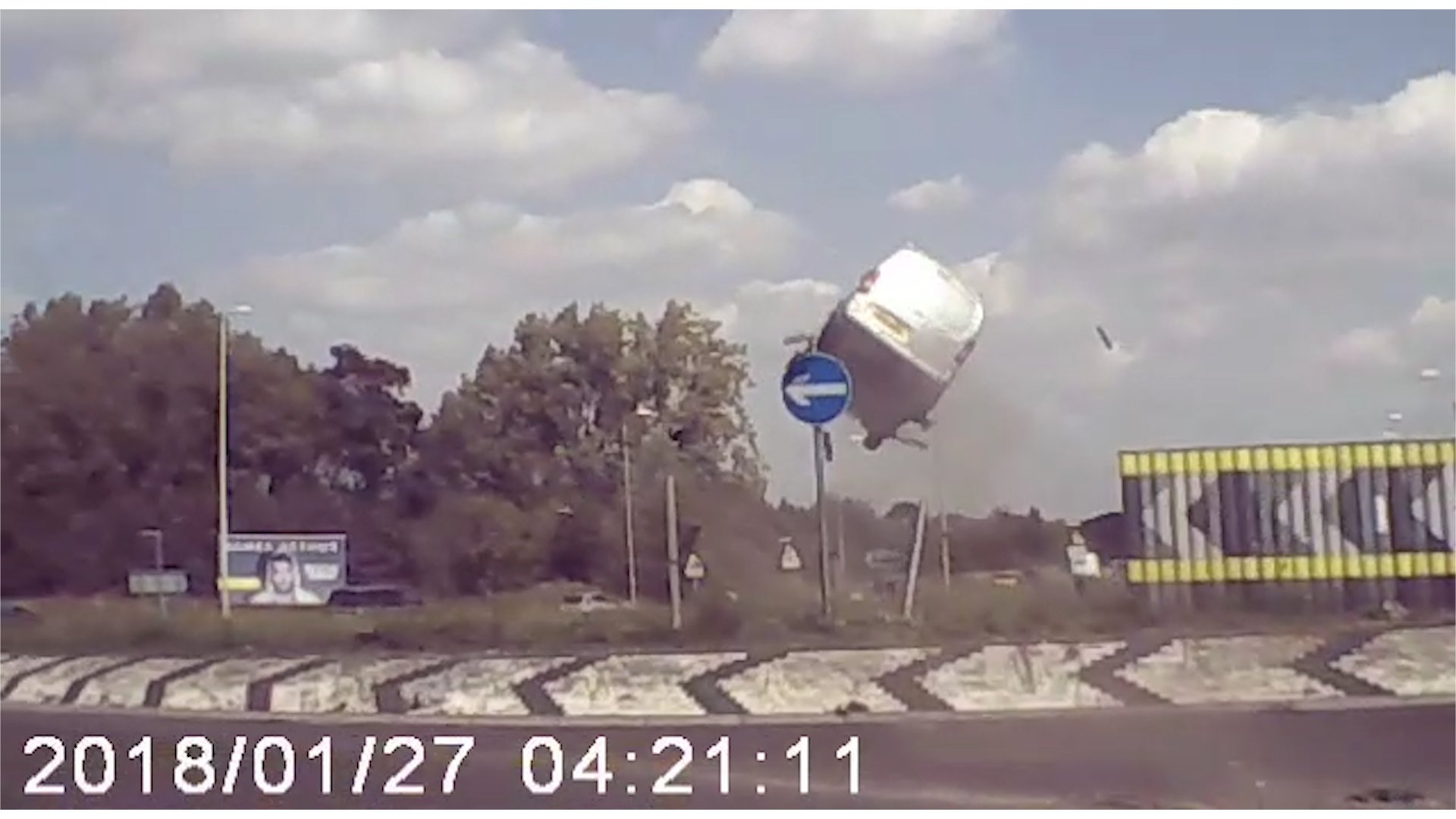 Video showing a van taking off from a roundabout on the A11 at Attleborough, Norfolk. See Masons copy MNVAN: This amazing footage appears to capture a 'Dukes of Hazzard style' moment when a speeding van flies through the air after hitting a roundabout. The silver Citroen van is caught hurtling along a dual carriageway before failing to stop and launching into the air as it strikes the cambered edge of the roundabout. Motorcyclist Andy Daynes, 35, said he caught the footage on his helmet cam while driving behind the van on the A11 at Attleborough, Norfolk, earlier this year.