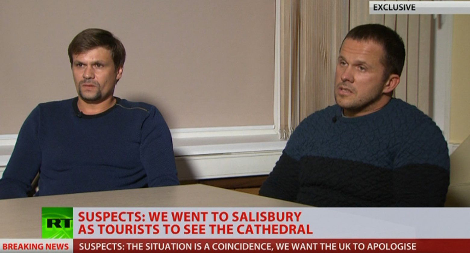Alexander Petrov and Ruslan Boshirov told RT???s editor-in-chief they had nothing to do with the Skripals??? poisoning and are now scared to go outside, after the UK pointed to them as Russian intelligence agents on a kill mission. The two men reached out to RT editor-in-chief Margarita Simonyan as they wanted to tell their story. ???Well, we came there on March 2, then went to a railway station to see the timetable. We arrived in Salisbury on March 3 and tried to walk through the town, but we lasted for only half an hour because it was covered in snow,??? Petrov said. ???Of course, we went there to see Stonehenge, Old Sarum, but we couldn???t do it because there was muddy slush everywhere. The town was covered by this slush. We got wet, took the nearest train and came back [to London].??? ???We spent no more than an hour in Salisbury, mainly because of the lags between trains,??? Boshirov said.???Maybe we did [approach] Skripal???s house, but we don???t know where is it located.??? When Margarita Simonyan asked the two men whether they had Novichok or any poison with them, the emphatically said no. Then she asked whether they had the Nina Ricci perfume bottle that has been shown as evidence. ???Is it silly for decent lads to have women???s perfume? The customs are checking everything, they would have questions as to why men have women???s perfume in their luggage. We didn???t have it.??? - Boshirov said. Both Petrov and Boshirov sounded distressed as they spoke about how their lives had changed since they were named in the UK as Russian intelligence agent, who attempted to poison the Skripals. ???When your life turned upside down, you don???t know what to do and where to go. We???re afraid of going out, we fear for ourselves, our lives and lives of our loved ones,??? Boshirov said. On 13 September 2018 at 16:27, Will Stewart wrote: