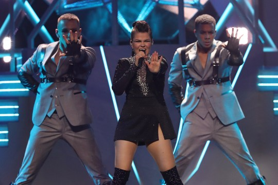 May 8, 2018 - Lisbon, Portugal - Singer Saara Aalto of Finland performs during the first semi-final of the 2018 Eurovision Song Contest, at the Altice Arena in Lisbon, Portugal on May 8, 2018. (Credit Image: ?? Pedro Fiuza via ZUMA Wire)