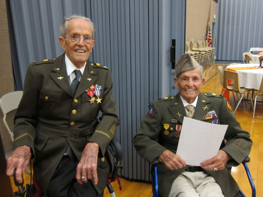 "The 105-year-old Henderson twins, Boyd and Ralph, in their military uniforms. They put their longevity down to their teetotal lifestyle.Pocatello, Idaho. September 6 2018. See story NYTWIN . Identical twin brothers have turned 100 and put the secret of their longevity down to a healthy life of abstinence - with no alcohol, tobacco or caffeine. Centenarians Boyd and Ralph Henderson are ""best friends"" and have been inseparable since they were born in 1918.The brothers, who both married their high school sweethearts, have 14 children, 71 grandchildren and 128 great-grandchildren between them. Boyd and Ralph, who were born in Arimo, Idaho, USA, fought together during World War II in far flung battlefields of North Africa and Europe."