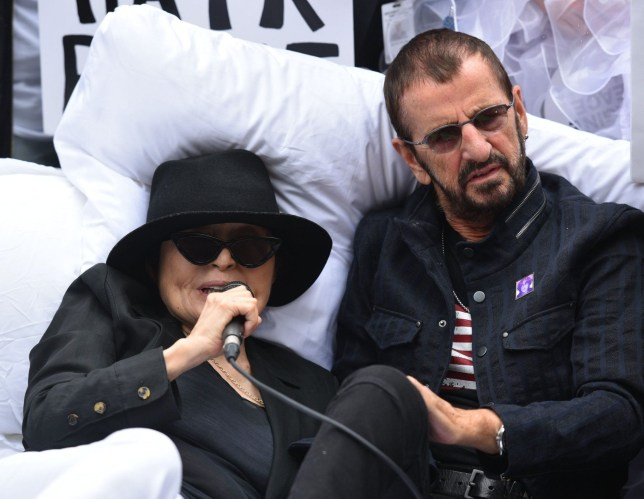 Mandatory Credit: Photo by Erik Pendzich/REX (9881357ag) Yoko Ono, Ringo Starr Fifth Annual Come Together 'Bed-In' event, New York, USA - 13 Sep 2018