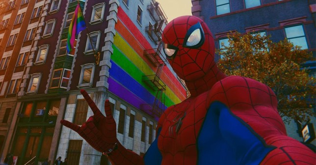 Spider-PRIDE is here baby, and the web is loving the Webhead's inclusive move (Picture: Insomniac Games)
