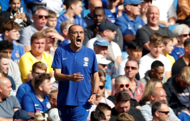 """Soccer Football - Premier League - Chelsea v Cardiff City - Stamford Bridge, London, Britain - September 15, 2018 Chelsea manager Maurizio Sarri reacts Action Images via Reuters/Matthew Childs EDITORIAL USE ONLY. No use with unauthorized audio, video, data, fixture lists, club/league logos or """"live"""" services. Online in-match use limited to 75 images, no video emulation. No use in betting, games or single club/league/player publications. Please contact your account representative for further details."""