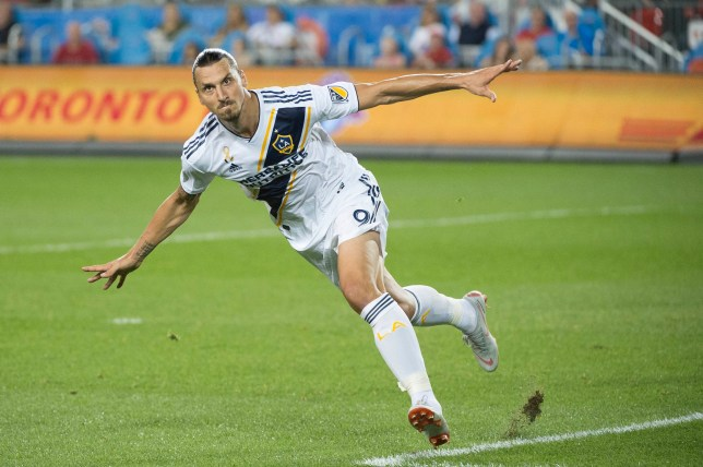 Sep 15, 2018; Toronto, Ontario, CAN; Los Angeles Galaxy forward Zlatan Ibrahimovic (9) celebrates a goal during the first half against Toronto FC at BMO Field. Mandatory Credit: Nick Turchiaro-USA TODAY Sports