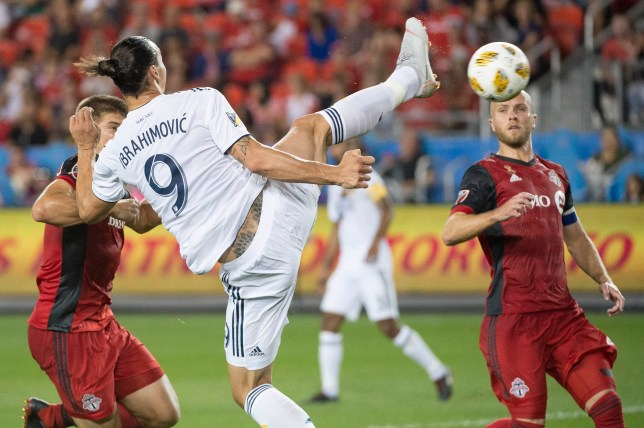 SIPA USA via PA Images Sep 15, 2018; Toronto, Ontario, CAN; Los Angeles Galaxy forward Zlatan Ibrahimovic (9) scores a goal during the first half against Toronto FC at BMO Field. Mandatory Credit: Nick Turchiaro-USA TODAY Sports/Sipa USA
