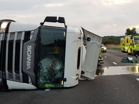 M4 motorway shut after milk tanker crashes and spills fuel in road