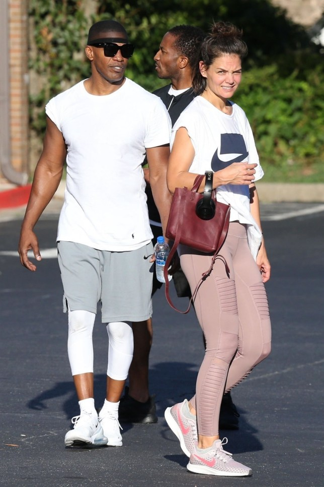 *PREMIUM-EXCLUSIVE* Atlanta, GA - - Couple Katie Holmes and Jamie Foxx stop by a gym for a workout in Atlanta. Katie who is in town to visit Jamie as he films his new movie looked to be cradling her belly as she left the gym. *SHOT ON 09/17/18* Pictured: Jamie Foxx, Katie Holmes BACKGRID USA 18 SEPTEMBER 2018 USA: +1 310 798 9111 / usasales@backgrid.com UK: +44 208 344 2007 / uksales@backgrid.com *UK Clients - Pictures Containing Children Please Pixelate Face Prior To Publication*