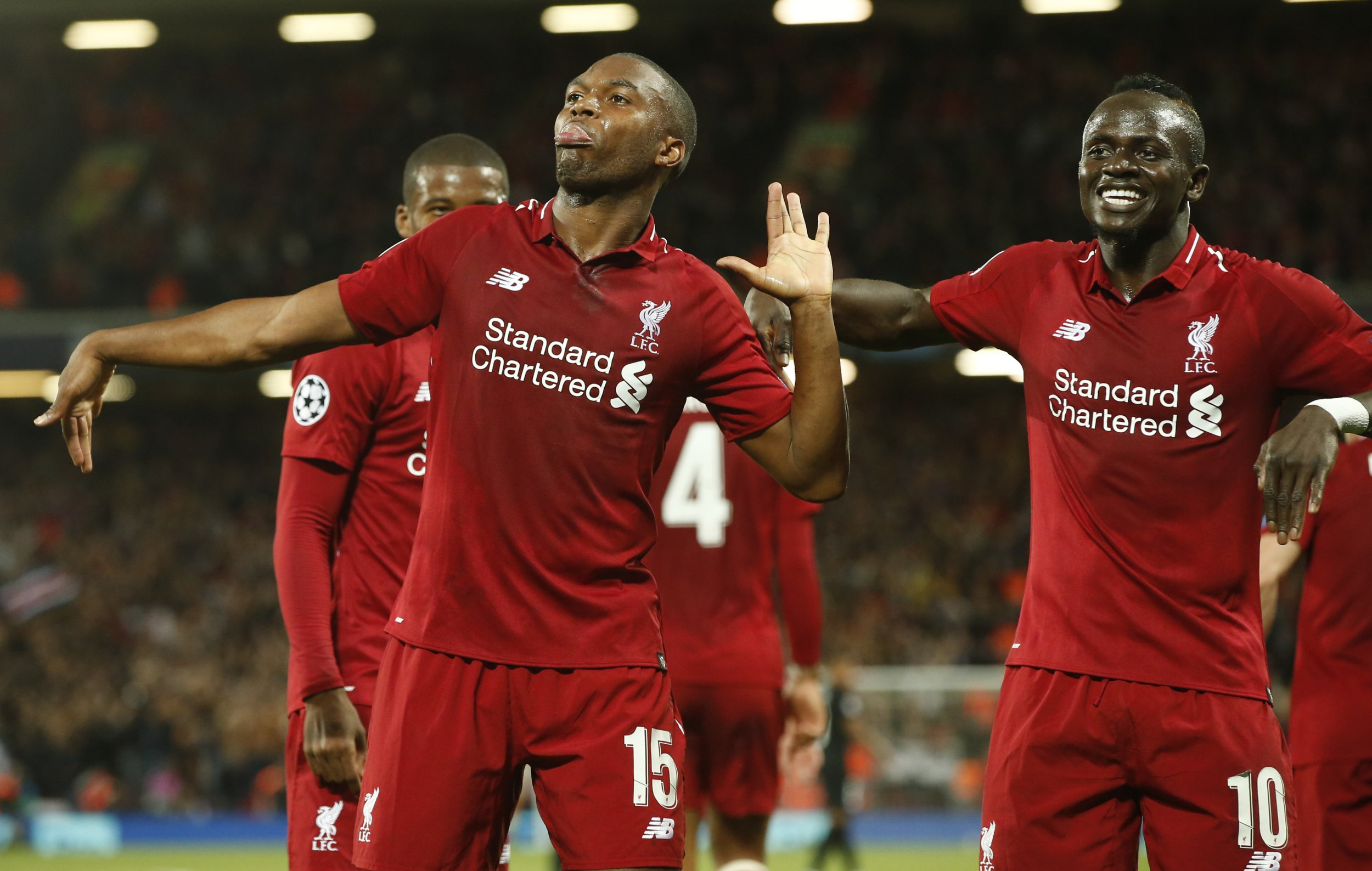 Liverpool forward Daniel Sturridge celebrates scoring the first goal during the UEFA Champions League - Group C match at the Anfield Stadium, Liverpool. Picture date 18th September 2018. Picture credit should read: Andrew Yates/Sportimage