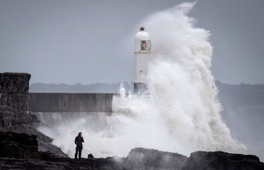 *** BESTPIX *** PORTHCAWL, WALES - SEPTEMBER 18: Waves whipped up by Storm Helene hit the seafront on September 18, 2018 in Porthcawl, Wales. As the remnants of Storm Helene passes across the UK the Met office has issued more severe weather warnings for Storm Ali which is set to hit Northern Ireland, Scotland, the north of England and Wales tomorrow(Photo by Matt Cardy/Getty Images)