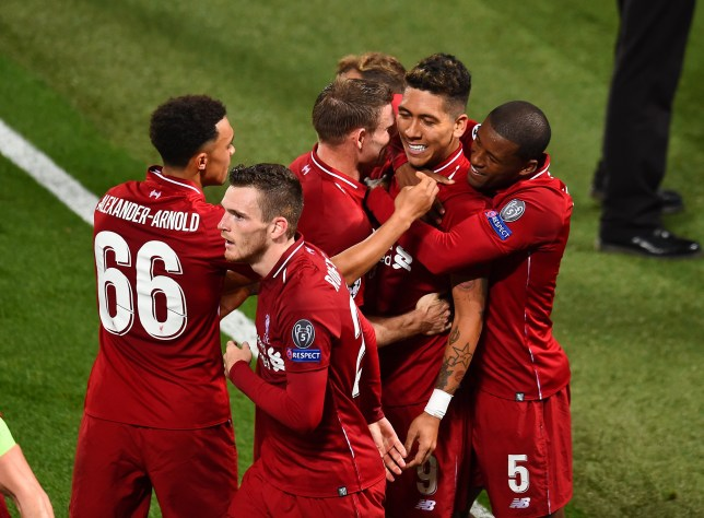 LIVERPOOL, ENGLAND - SEPTEMBER 18: (THE SUN OUT, THE SUN ON SUNDAY OUT) Roberto Firmino of Liverpool celebrates after scoring a goal during the Group C match of the UEFA Champions League between Liverpool and Paris Saint-Germain at Anfield on September 18, 2018 in Liverpool, United Kingdom. (Photo by Andrew Powell/Liverpool FC via Getty Images)