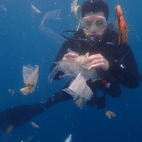NEWS COPY - WITH VIDEO AND PICTURES This is the shocking moment a scuba diver was faced with an underwater torrent of plastic pollution at one of the world's popular dive spots. Dive master and instructor Luis Manzano, 38, had just plunged into the water off the coast of Anilao in the Philippines on August 27 when he was confronted with the pollution. Hundreds of plastic bags, crisp packets and scraps of plastic waste were floating in the idyllic waters - one of the world's most popular and beautiful diving locations. Luis scooped up some of the rubbish and laid it out on the boat to show the extent of the problem but he admitted ''all the clean ups in the world won't solve this problem''. The scuba diving fanatic said: ''This was the scene after one dive. see the amount of plastic and trash we have in our waters, we are better than this everyone. ''This is what is happening to our oceans. This was the amount of plastic pollution we picked up after just one dive. ''Please be more responsible with your trash. All the clean up dives in the world won???t do anything unless we dispose of garbage the right way. We have a problem.'' Anila is seen as one of the best diving locations in the Philippines and Asia but it has also been blighted by the increasing effects of pollution in the region's oceans. In a report in 2015 by campaign group Ocean Conservancy and the McKinsey Center for Business and Environment, the Philippines was listed among five Asian countries which accounted for around 60 percent of the plastic waste leaking into the oceans. The others were China, Indonesia, Vietnam and Thailand. While in 2017, Greenpeace found that the Philippines is the third top contributor of plastic waste in the ocean, behind China and Indonesia. The charity said that about a truckload of plastic ends up at sea every minute. ENDS