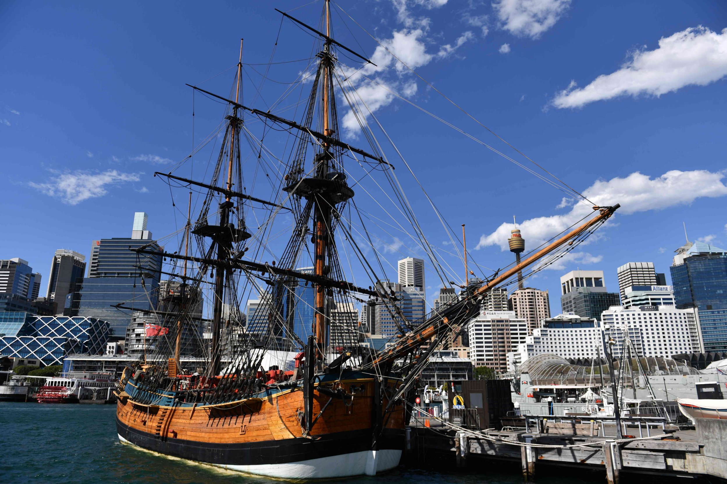 A replica of Captain Cook's ship 'Endeavour' is seen at the Australian National Maritime Museum in Sydney on September 19, 2018. - The centuries-long hunt for the remains of famed ship the Endeavour -- the vessel used by James Cook on a voyage of discovery to Australia and New Zealand -- could be nearing an end. (Photo by Saeed KHAN / AFP)SAEED KHAN/AFP/Getty Images