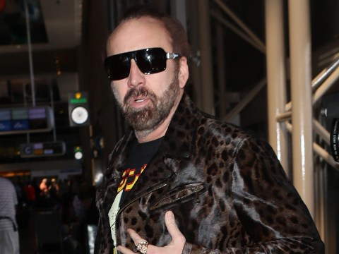 Nicolas Cage looks like a rock god in full leather ensemble and is bang on trend with leopard print