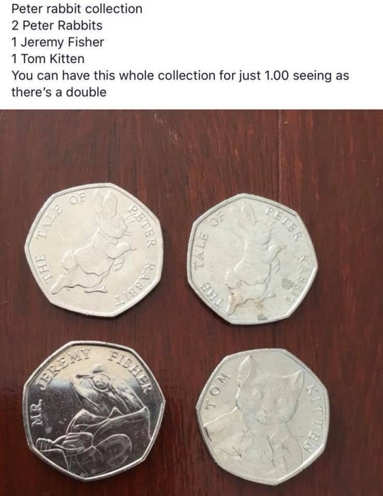 Woman sells four Beatrix Potter 50p coins for £1 – and they