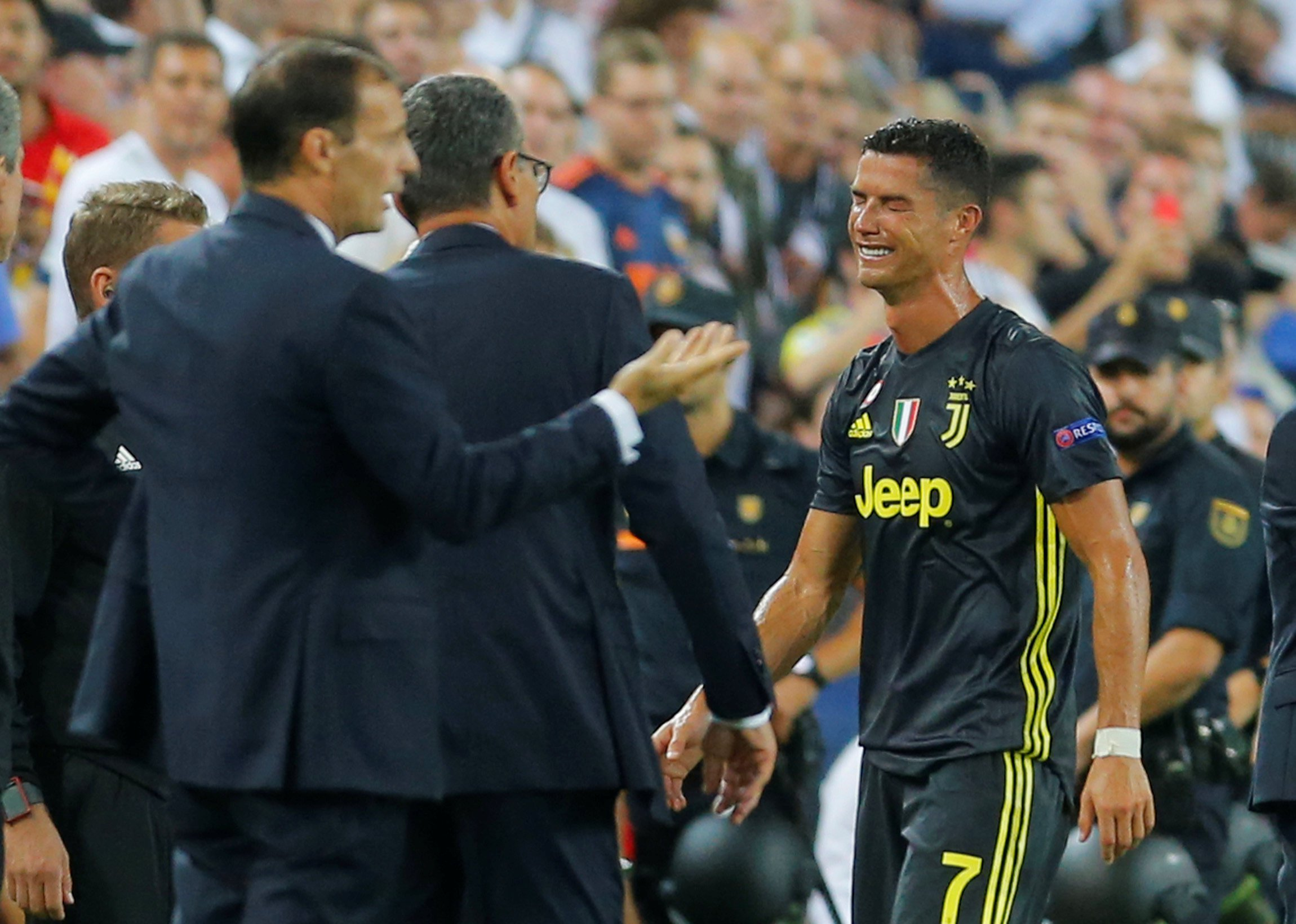 Soccer Football - Champions League - Group Stage - Group H - Valencia v Juventus - Mestalla, Valencia, Spain - September 19, 2018 Juventus' Cristiano Ronaldo reacts after being sent off REUTERS/Heino Kalis