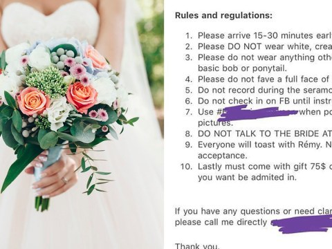 People are greatly enjoying a bride's list of ridiculous demands for her wedding day