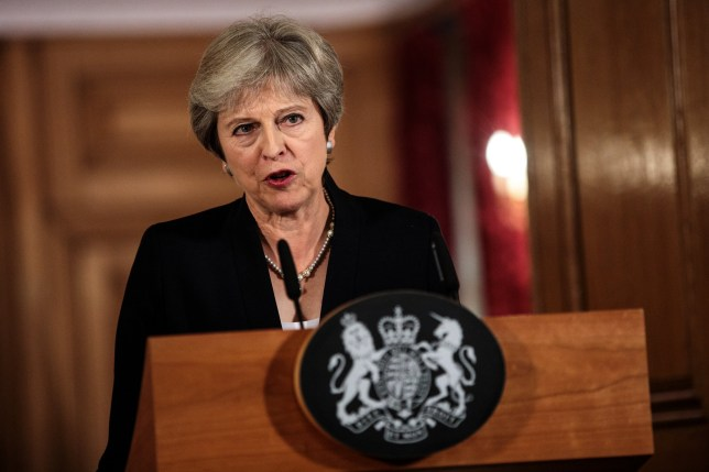 LONDON, ENGLAND - SEPTEMBER 21: British Prime Minister Theresa May makes a statement on Brexit negotiations with the European Union at Number 10 Downing Street on September 21, 2018 in London, England. Mrs May reiterated that a no-deal Brexit is better than a bad deal in a speech to the British people after the EU rejected her Chequers Plan for leaving the European Union. She said the UK is at an impasse with the EU and the two big issues are trade and Ireland. (Photo by Jack Taylor/Getty Images)