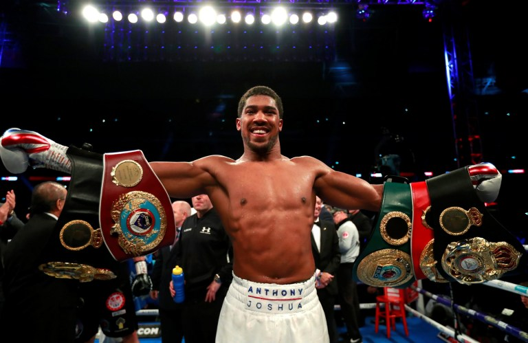 Boxing - Anthony Joshua v Alexander Povetkin - WBA Super, IBF, WBO & IBO World Heavyweight Titles - Wembley Stadium, London, Britain - September 22, 2018 Anthony Joshua celebrates his win against Alexander Povetkin Action Images via Reuters/Andrew Couldridge