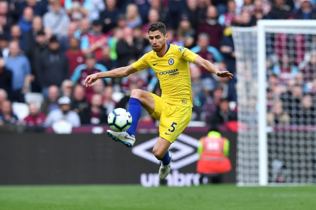 Chelsea's Italian midfielder Jorginho controls the ball during the English Premier League football match between West Ham United and Chelsea at The London Stadium, in east London on September 23, 2018. (Photo by Ben STANSALL / AFP) / RESTRICTED TO EDITORIAL USE. No use with unauthorized audio, video, data, fixture lists, club/league logos or 'live' services. Online in-match use limited to 120 images. An additional 40 images may be used in extra time. No video emulation. Social media in-match use limited to 120 images. An additional 40 images may be used in extra time. No use in betting publications, games or single club/league/player publications. / BEN STANSALL/AFP/Getty Images