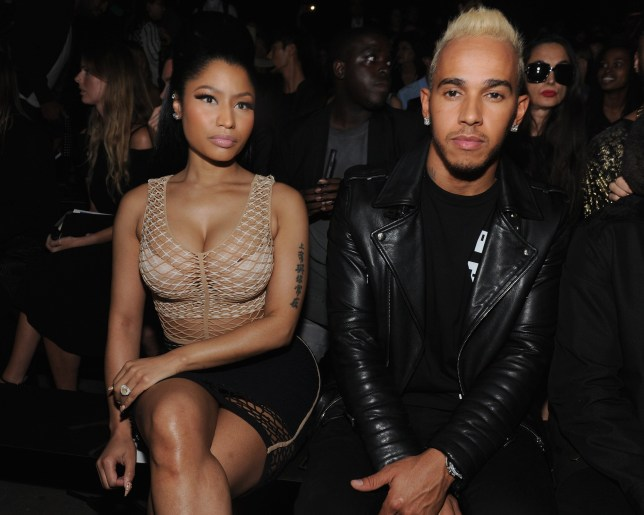 NEW YORK, NY - SEPTEMBER 12: Nicki Minaj (L) and Lewis Hamilton attend the Alexander Wang Spring 2016 fashion show during New York Fashion Week at Pier 94 on September 12, 2015 in New York City. (Photo by Craig Barritt/Getty Images)