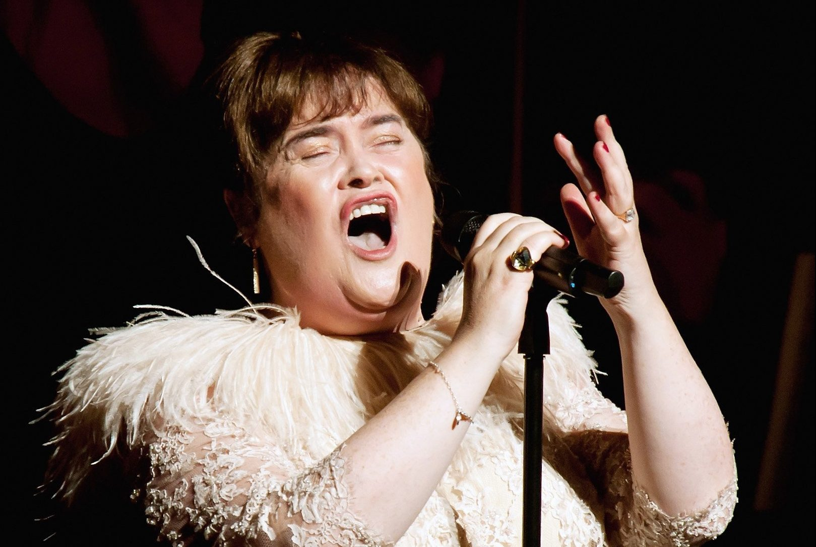 COSTA MESA, CA - OCTOBER 16: Susan Boyle performs at Segerstrom Center For The Arts on October 16, 2014 in Costa Mesa, California. (Photo by Doug Gifford/Getty Images)