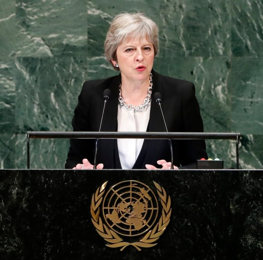 epa07049083 British Prime Minister Theresa May speaks during the General Debate of the General Assembly of the United Nations at United Nations Headquarters in New York, New York, USA, 26 September 2018. The General Debate of the 73rd session runs from 25 September to 01 October 2018. EPA/JASON SZENES