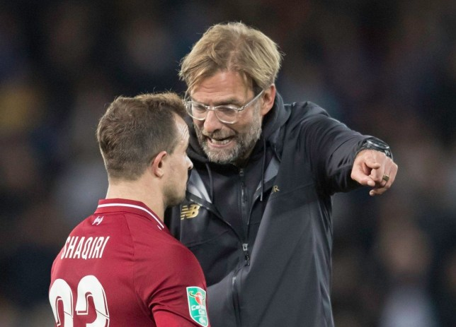 Mandatory Credit: Photo by Jon Super/REX (9896741n) Liverpool manager Jurgen Klopp right remonstrates with midfielder Xherdan Shaqiri after the English EFL Cup third round soccer match Liverpool v Chelsea, EFL Carabao Cup Third Round, Football, Anfield, Liverpool, UK - 26 Sep 2018