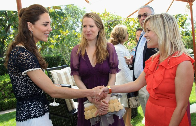 BEVERLY HILLS, CA - JULY 10: Catherine, Duchess of Cambridge meets actress Reese Witherspoon as she attends a reception to mark the Launch of Tusk Trust's US Patron's Circle on July 10, 2011 in Santa Barbara, California. The newly married Royal Couple are on the final day of their first joint overseas tour to the USA. They arrived on Friday after spending 9 days in Canada. The couple started off their tour of North America by joining millions of Canadians in taking part in Canada Day celebrations which mark Canada's 144th Birthday. (Photo by Chris Jackson - Pool/Getty Images)