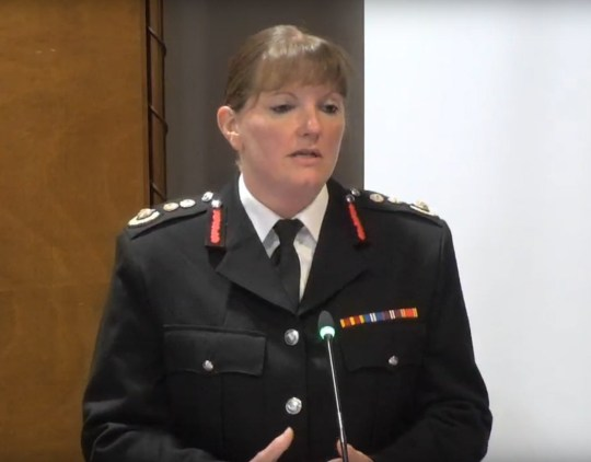 London Fire Brigade Commissioner Dany Cotton giving evidence at the Grenfell Tower inquiry in Holborn, London. PRESS ASSOCIATION Photo. Picture date: Thursday September 27, 2018. See PA story INQUIRY Grenfell. Photo credit should read: Jonathan Brady/PA Wire. NOTE TO EDITORS: This handout photo may only be used in for editorial reporting purposes for the contemporaneous illustration of events, things or the people in the image or facts mentioned in the caption. Reuse of the picture may require further permission from the copyright holder.