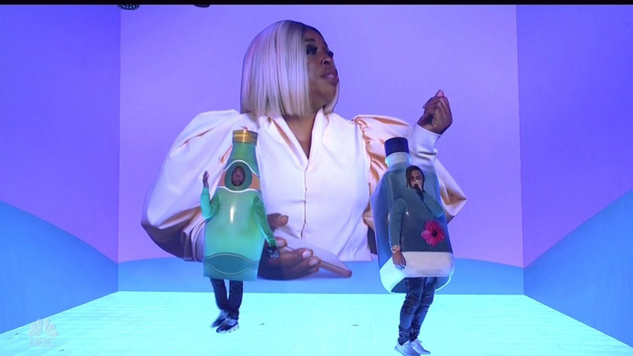 Kanye West dresses as a bottle of water and rants about politics in SNL appearance