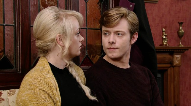 Katie McGlynn as Sinead Tinker and Rob Mallard as Daniel Osbourne in Coronation Street