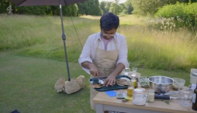 Rahul making pitta breads