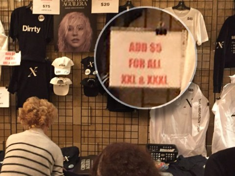 Christina Aguilera slammed after plus size tour merchandise sold for a higher price