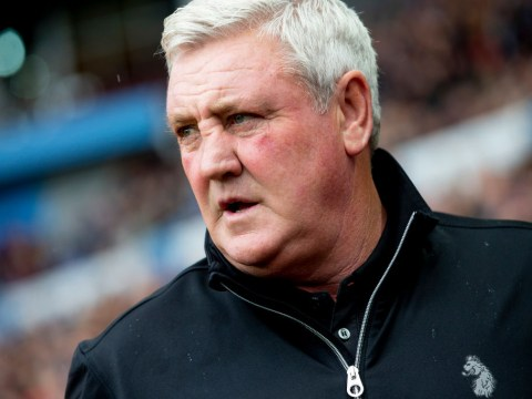 Aston Villa fan launches a cabbage at Steve Bruce during Preston clash