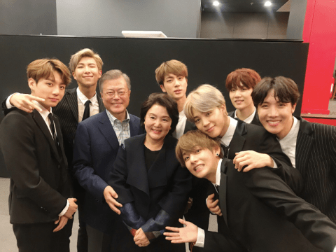 BTS meet South Korean President Moon Jae-in and the First Lady after pop concert in Paris