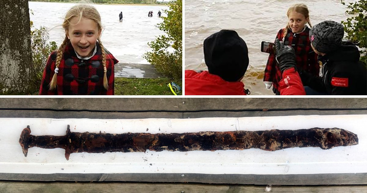 Swedish girl, 8, pulls out an ancient viking sword from the lake, as you do