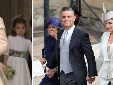 Robbie Williams' daughter Teddy leaps out of her skin as horns blast at Princess Eugenie's royal wedding
